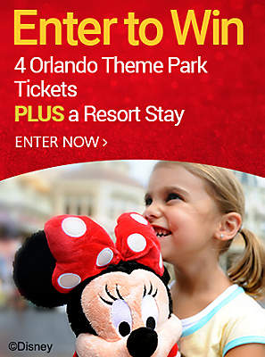Enter to Win 4 Orlando Theme Park Tickets PLUS a Resort Stay ENTER NOW »