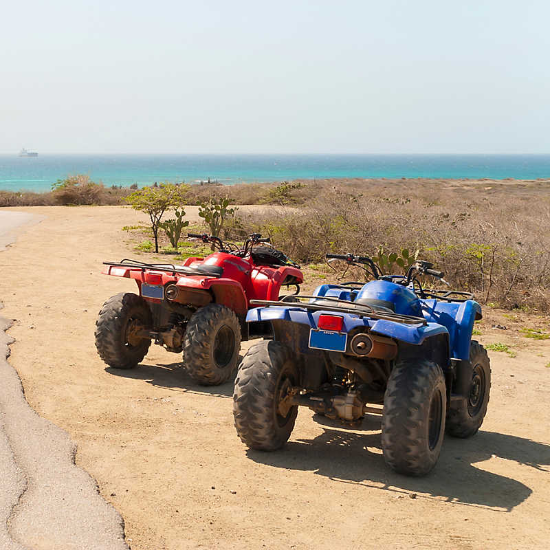ATVs on beach at Action Tours Aruba