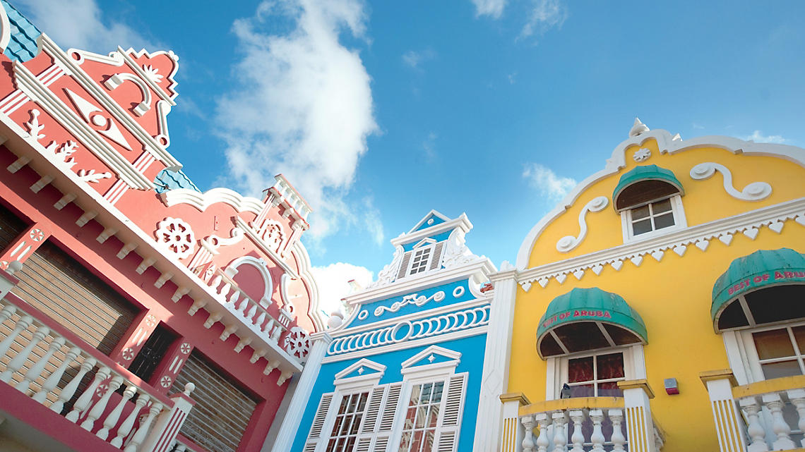 The colorful Dutch houses of Oranjestad