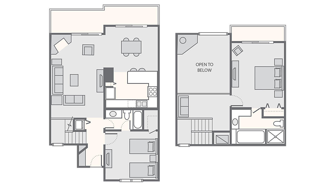 2 Bedroom Loft  1,300 SQ FT