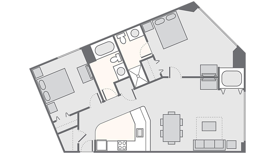 2 Bedroom 853 SQ FT