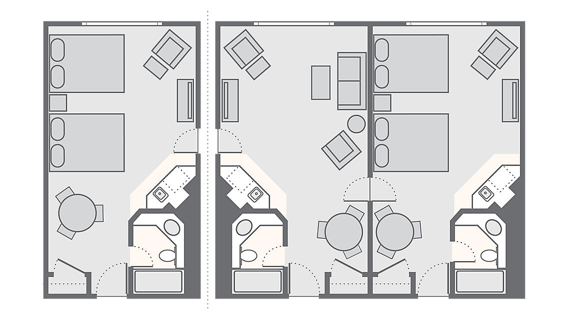 Combined Standard 2 Bedroom 1101 SQ FT (Standard Studio 367 SQ FT, Standard 1 Bedroom 734 SQ FT)