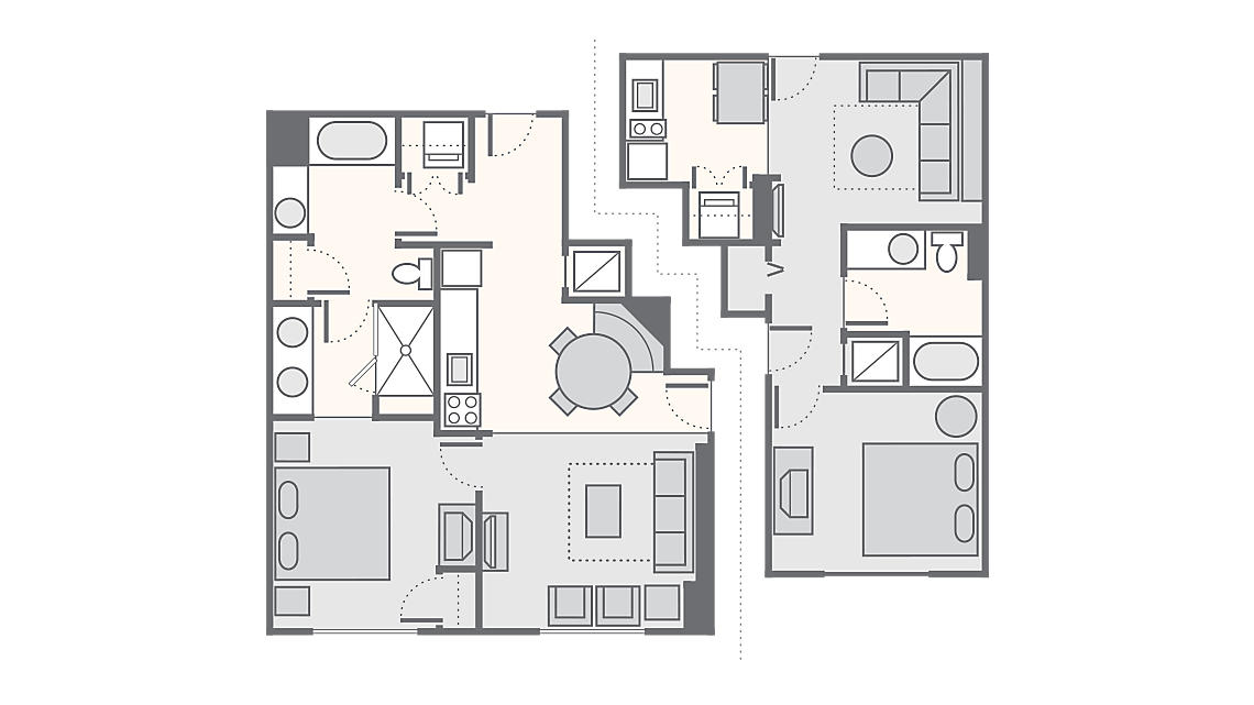 Combined 2 Bedroom 1,190 SQ FT (1 Bedroom Standard 486 SQ FT, 1 Bedroom Deluxe 704 SQ FT)