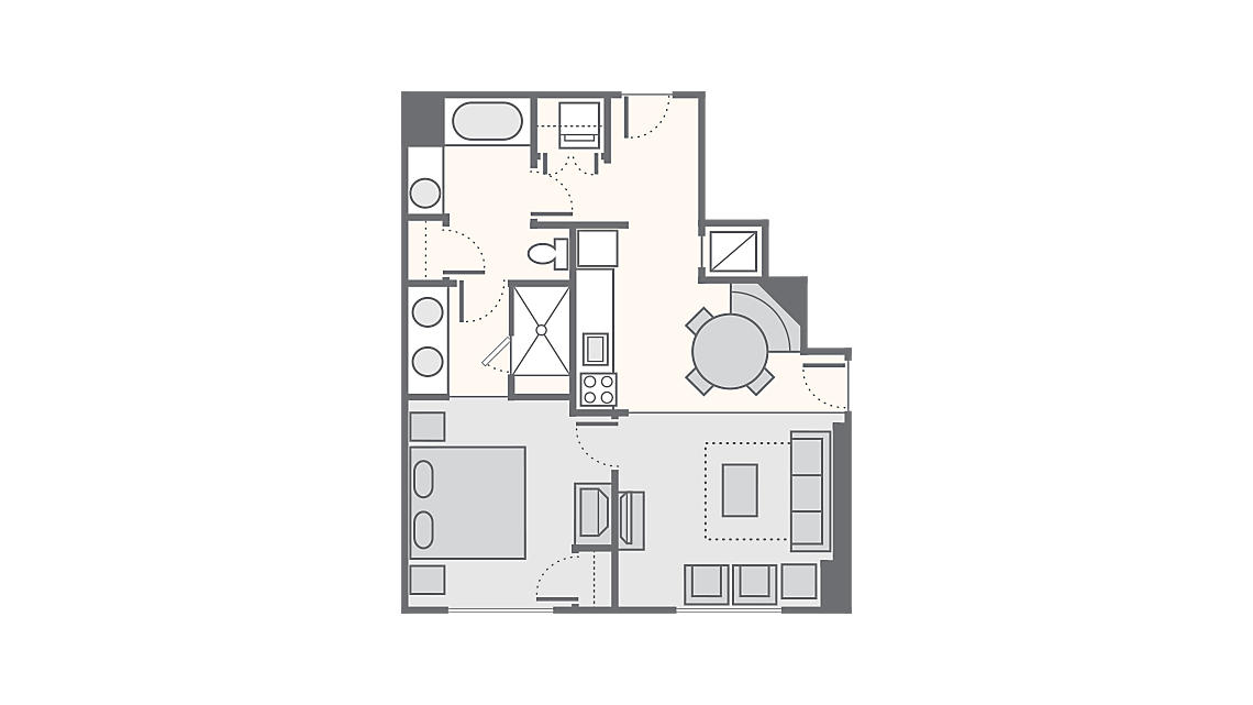 1 Bedroom Deluxe 710 SQ FT