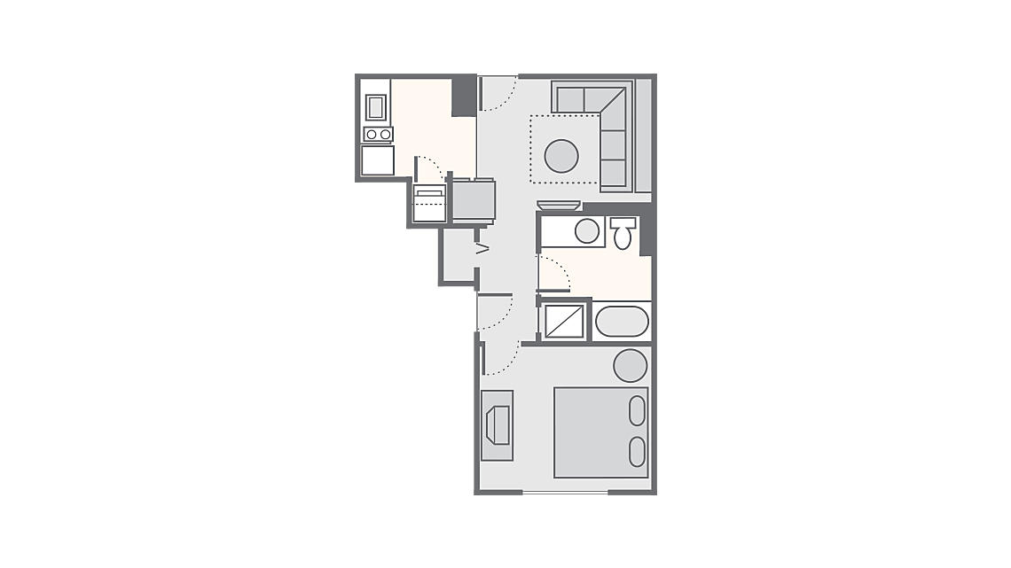 1 Bedroom Standard 480 SQ FT