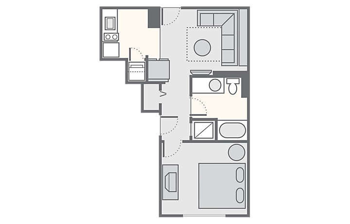 Bluegreen Club 36™ 1 Bedroom Standard, 480 sq ft.