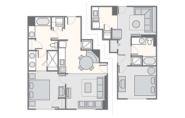 Bluegreen Club 36™ Combined 2 Bedroom, 1,190 sq ft.