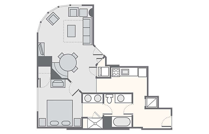 Bluegreen Club 36™ 1 Bedroom Deluxe, 735 sq ft.