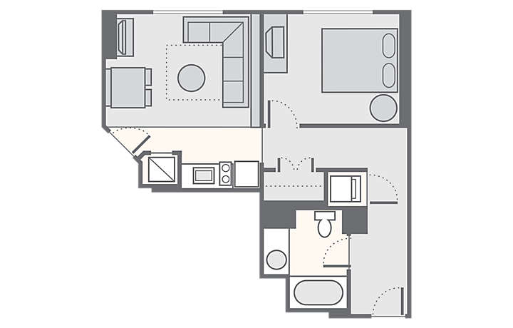 Bluegreen Club 36™ 1 Bedroom Standard, 553 sq ft.