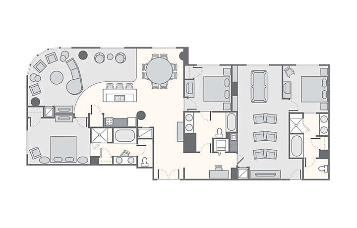Bluegreen Club 36™ 3 Bedroom Presidential Suite, 2,520 sq ft.