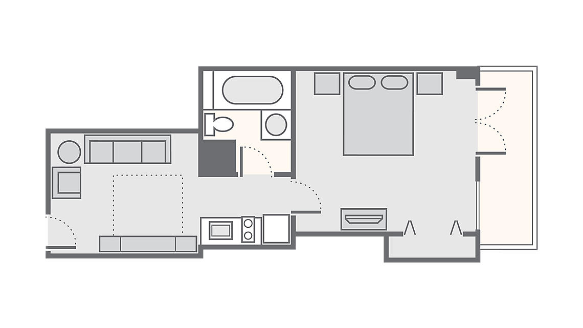 1 Bedroom 324 SQ FT
