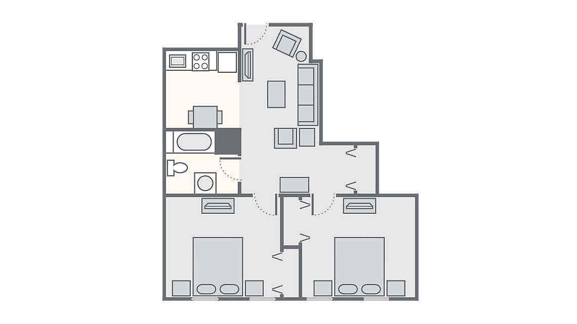 2 Bedroom 564 SQ FT