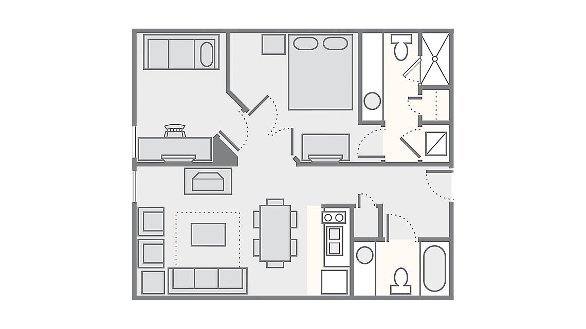 1 Bedroom with Study 749 SQ FT