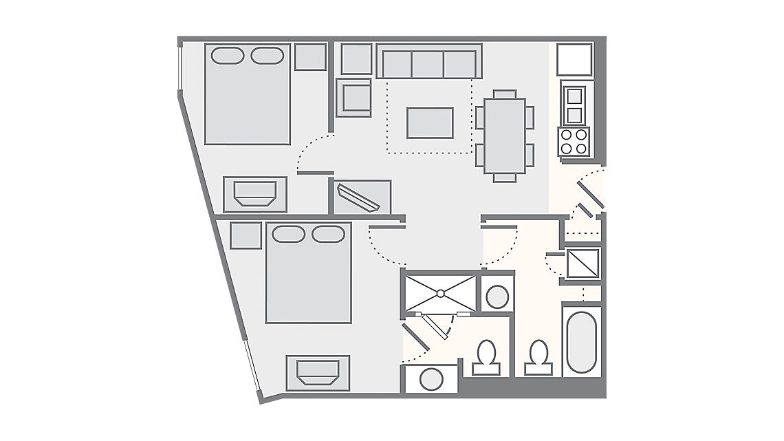 2 Bedroom 635 SQ FT