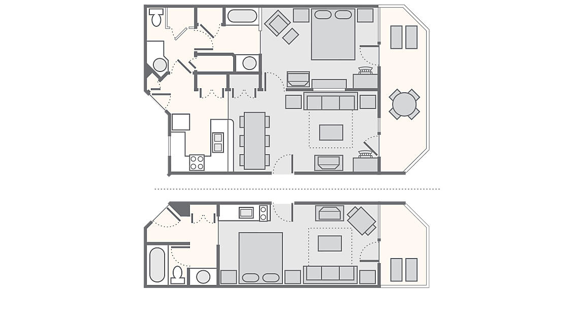 Lodge - 2 Bedroom 1,350 SQ FT (Lodge Studio 450 SQ FT, Lodge 1 Bedroom 900 SQ FT)