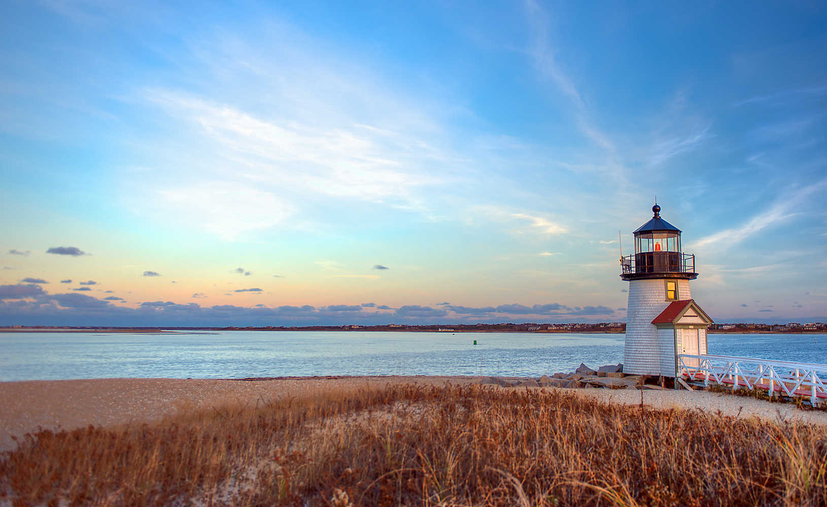Blue skies and the Brant Point Lighthouse in Nantucket, Cape Cod Massachusetts