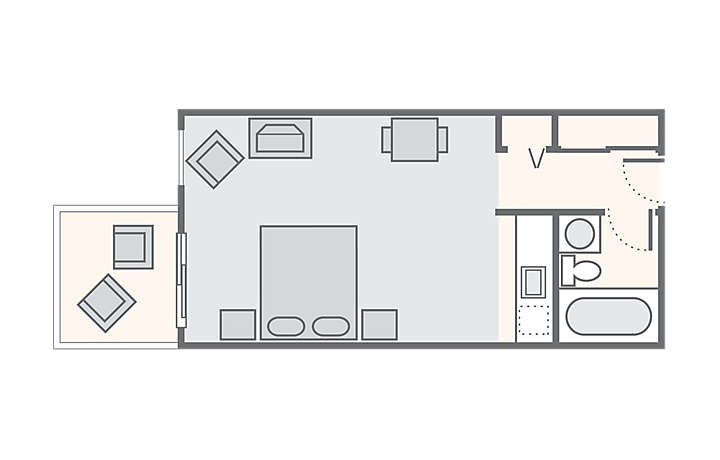 Casa Del Mar Beach Resort Studio Streetside, 302 sq ft.