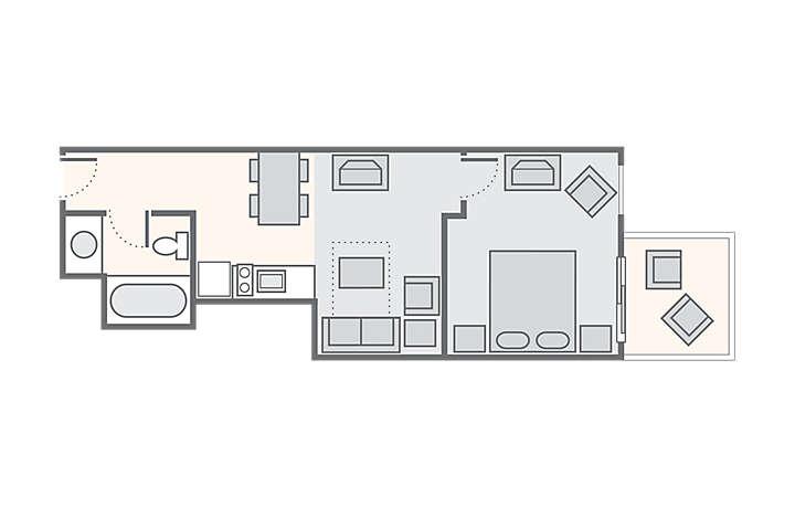 Casa Del Mar Beach Resort 1 Bedroom Standard Oceanfront, 432 sq ft.