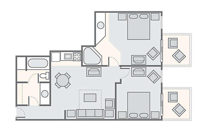 Casa Del Mar Beach Resort 2 Bedroom Oceanfront, 791 sq ft.