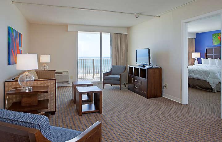 Casa Del Mar Beach Resort - Living Room and Balcony