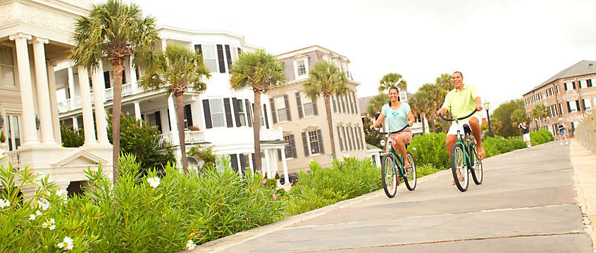 Couple riding bikes in Charleston, South Carolina
