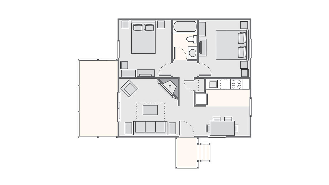 2 Bedroom Cottage 650 SQ FT