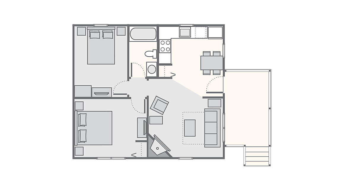 2 Bedroom Cabin 650 SQ FT