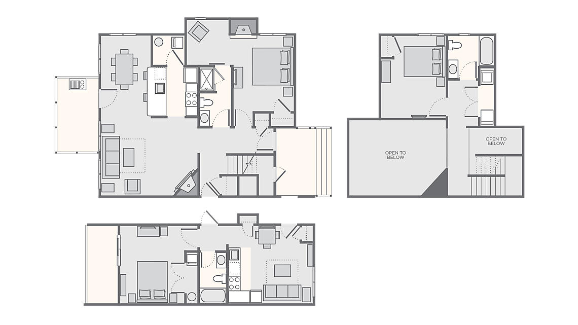 Combined 3 Bedroom Deluxe Timber 1,600 SQ FT (1 Bedroom Deluxe Timber 450 SQ FT,  2 Bedroom Deluxe Timber 1,150 SQ FT)
