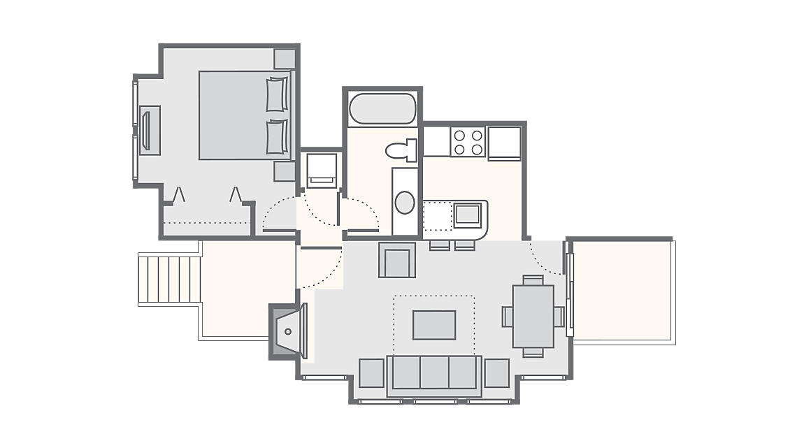 1 Bedroom Townhome 500 SQ FT