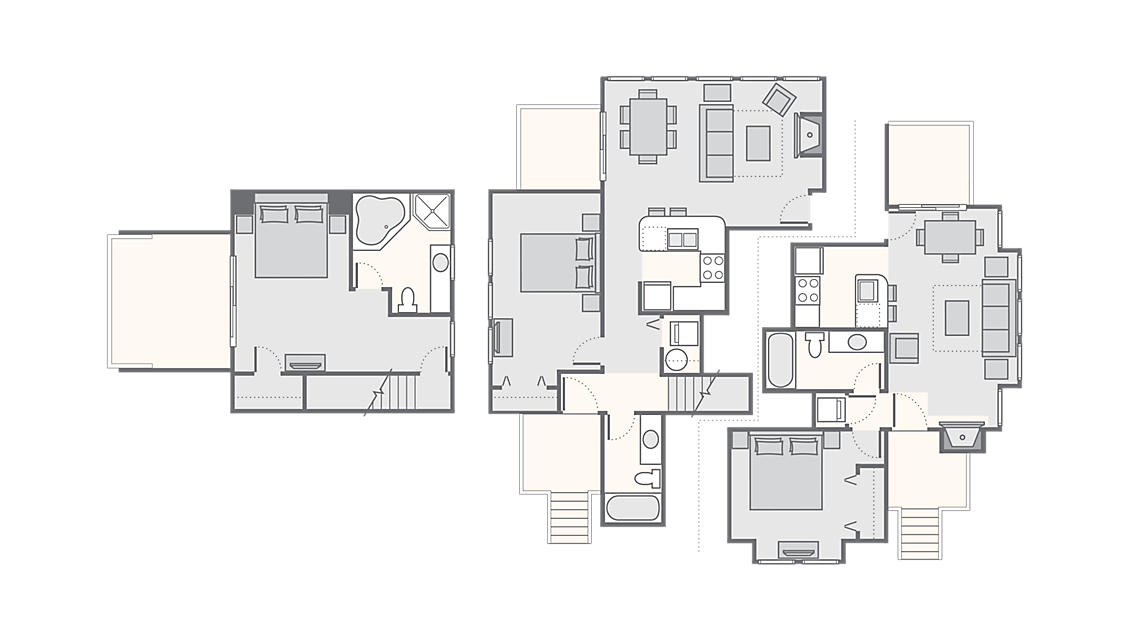 Combined 3 Bedroom Townhome 1,700 SQ FT (1 Bedroom Townhome 500 SQ FT,  2 Bedroom Townhome 1,200 SQ FT)