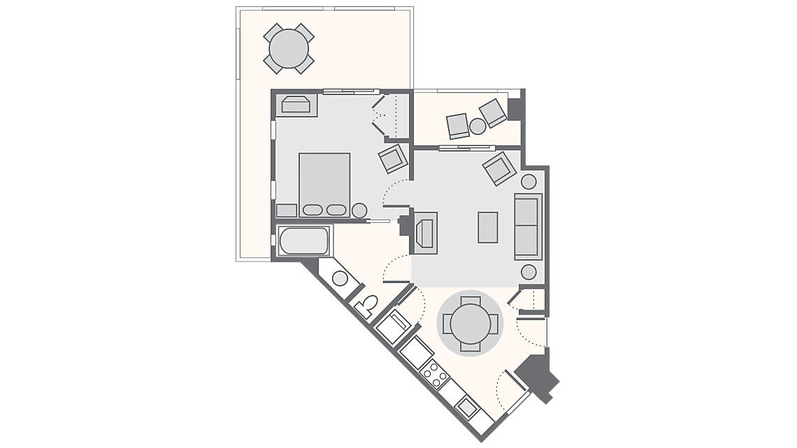 1 Bedroom Junior Penthouse 626 SQ FT