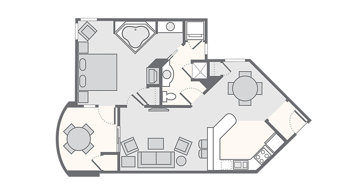 1 Bedroom Master 921 SQ FT