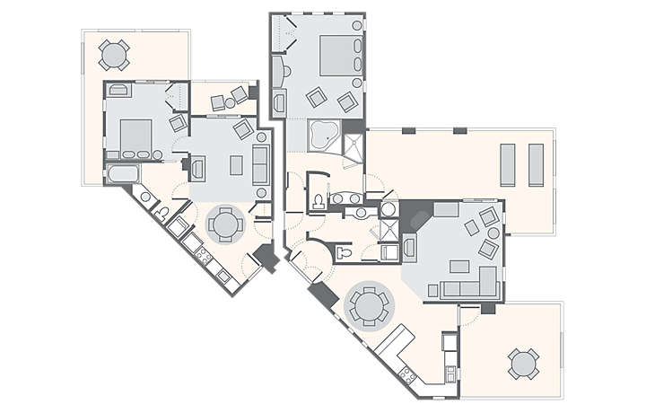 Cibola Vista Resort and Spa Combined 2 Bedroom Penthouse, 1,817 sq ft.