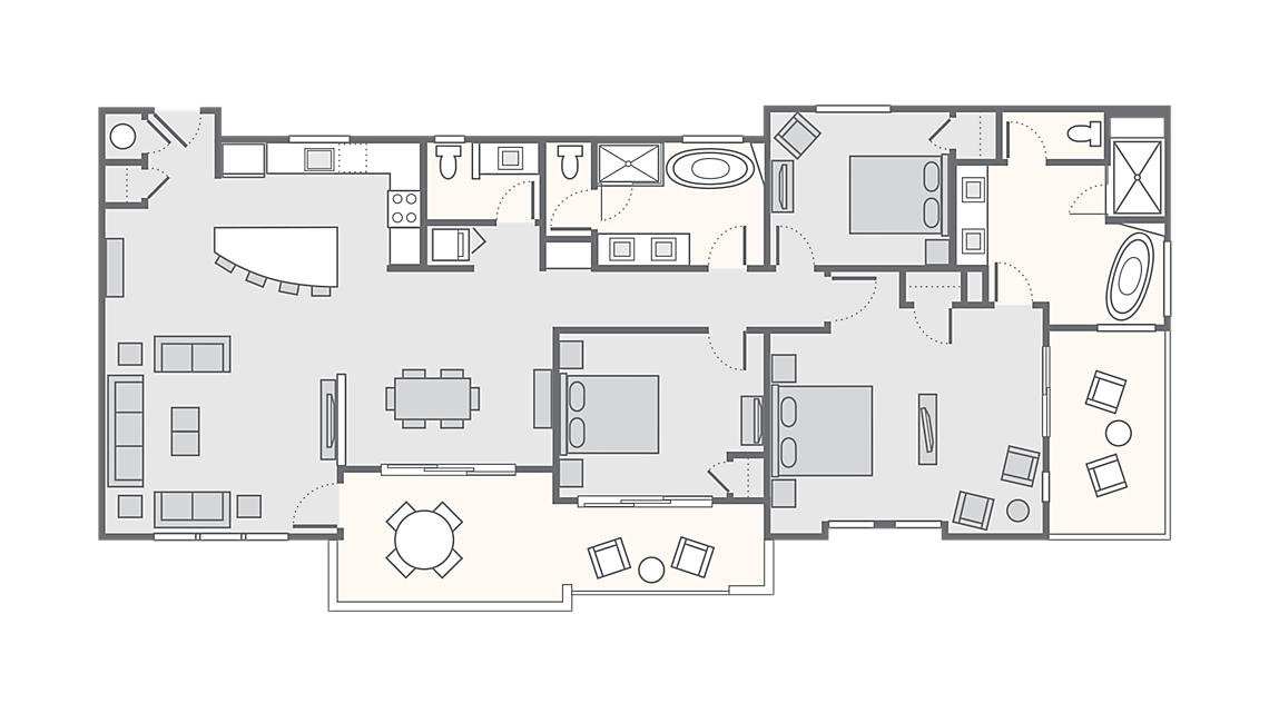 3 Bedroom Presidential 1,734 SQ FT