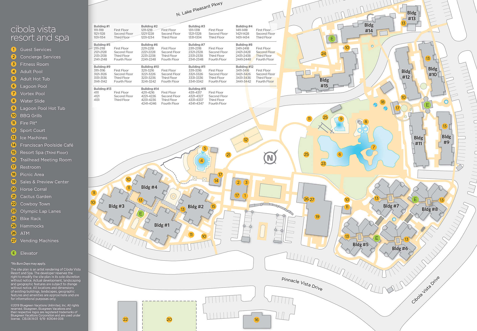 Cibola Vista Resort and Spa Site Map