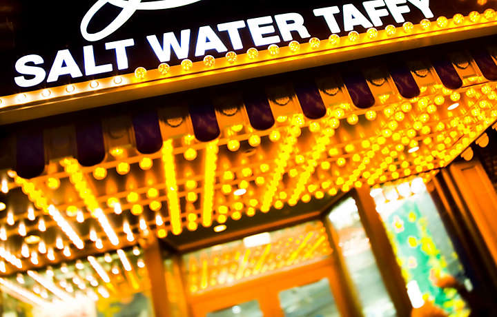 Salt water taffy store on Boardwalk in New Jersey