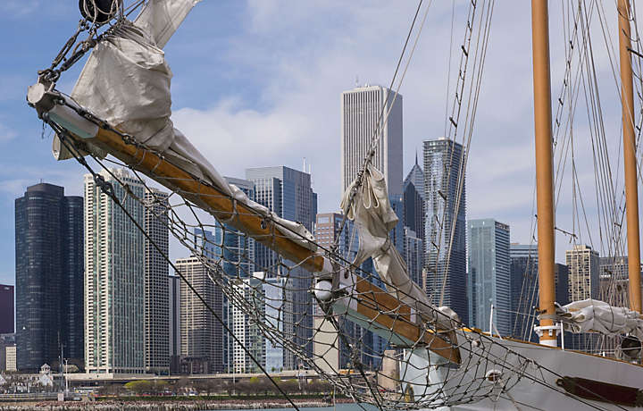 Chicago Illinois - Old Sail Boat at Port
