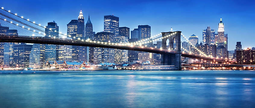 New York City, Manhattan skyline at night