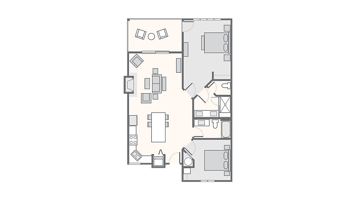 2 Bedroom - ADA Accessible 1,273 SQ FT