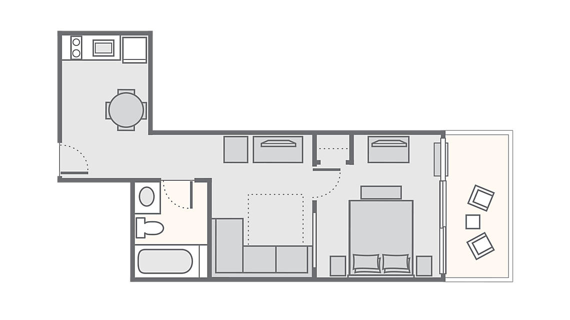 1 Bedroom Oceanfront 420 SQ FT