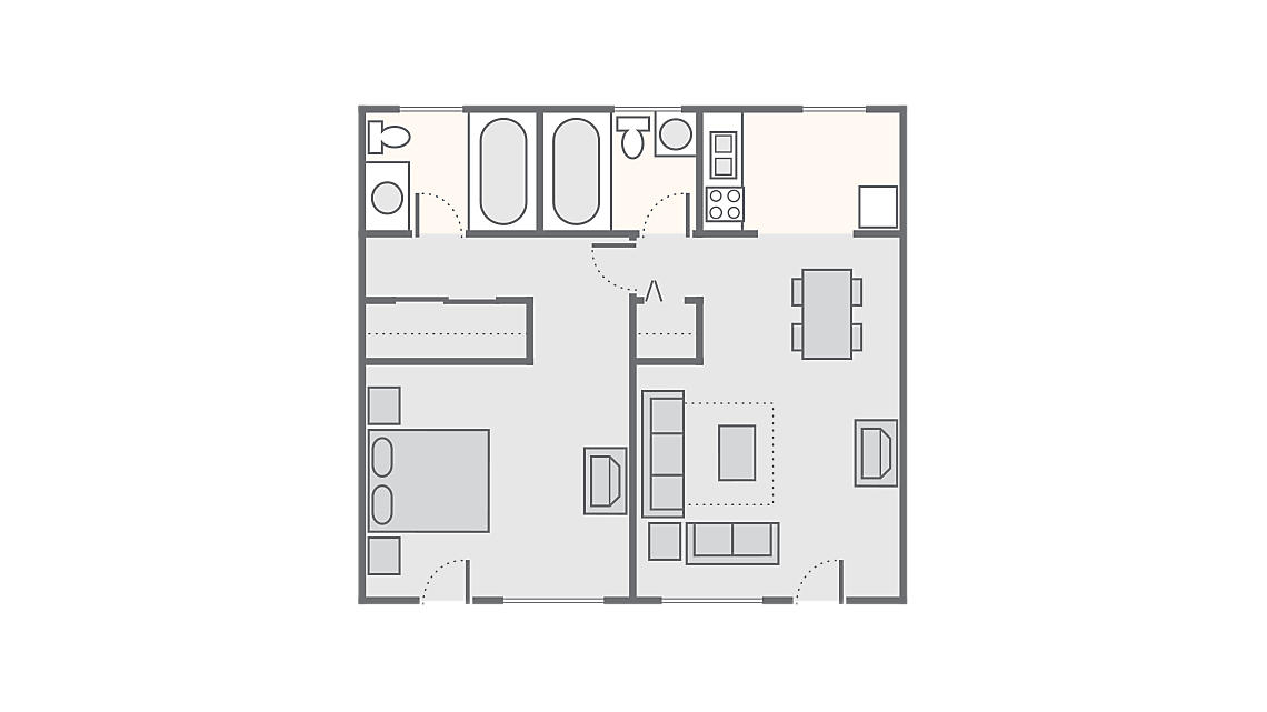 1 Bedroom 612 SQ FT