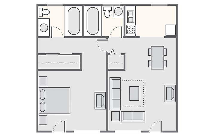 Dolphin Beach Club 1 Bedroom, 612 sq ft.