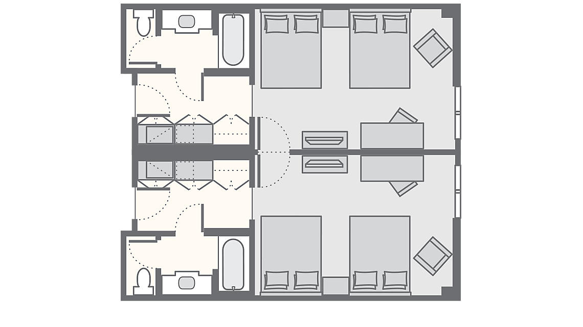 Hotel Room + Hotel Room Combo 730 SQ FT
