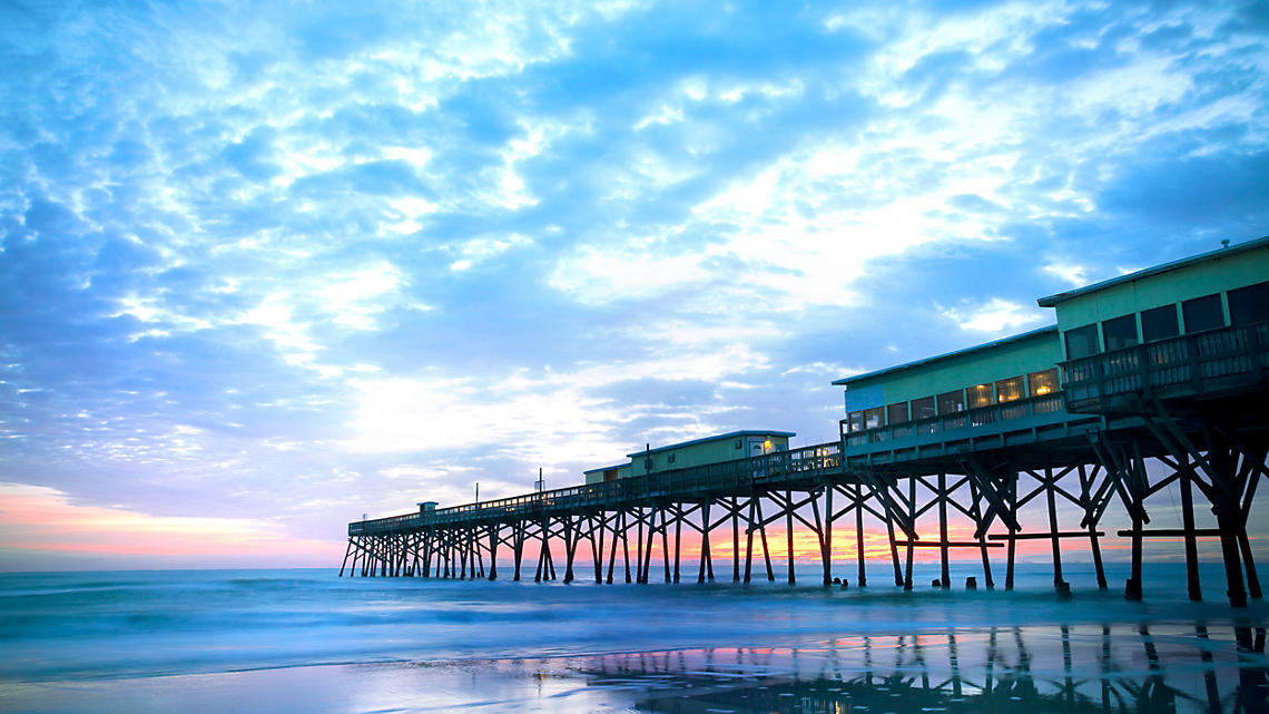 The Daytona Beach Pier stretches far into the Atlantic