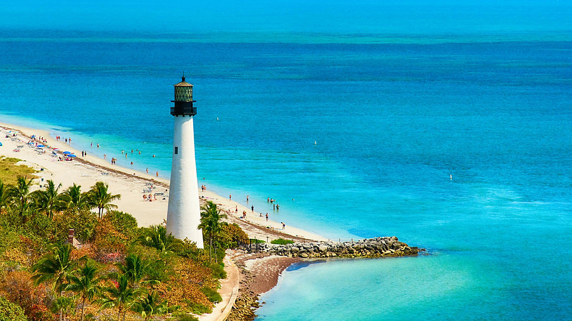 The historic Cape Florida lighthouse graces Key Biscayne