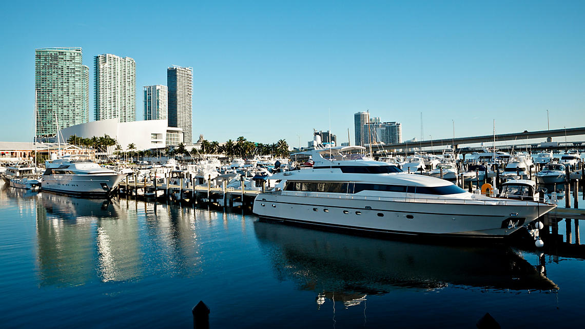 Miami is home port to many luxury yachts