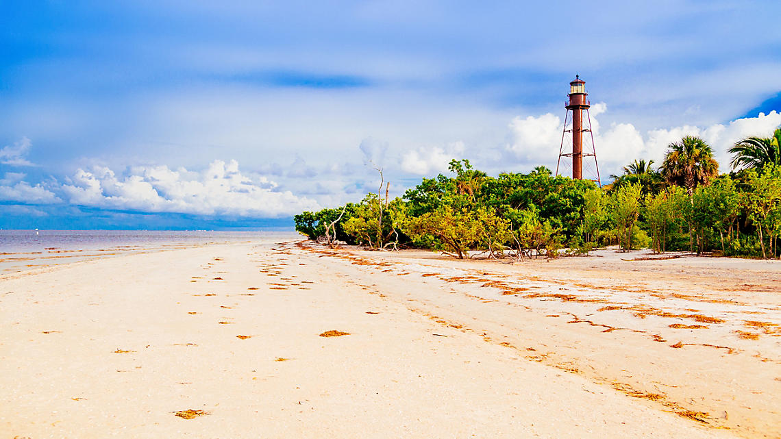 Sanibel Island Lighthouse exterior beach view