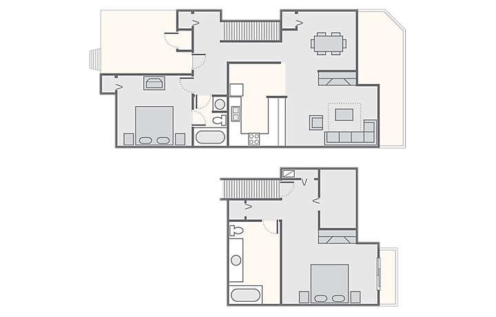 Foxrun Townhouses 2 Bedroom, 1,400 sq ft.