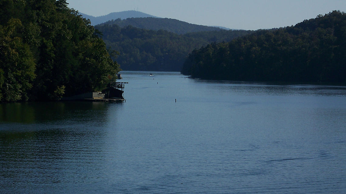 Lake Lure at the foot of the Blue Ridge Mountains