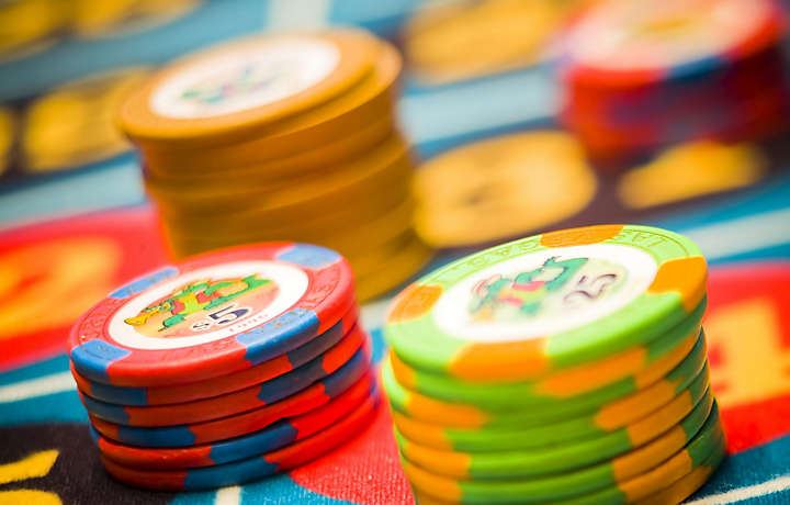 Stack of poker chips in Las Vegas casino